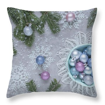 Throw Pillow featuring the photograph Christmas Baubles And Snowflakes by Kim Hojnacki