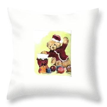 Christmas Bear Throw Pillow