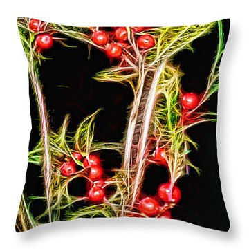 Throw Pillow featuring the photograph Christmas Berries by EricaMaxine  Price