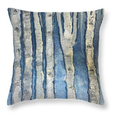 Throw Pillow featuring the painting Christmas Birches by Paula Brown