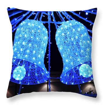 Christmas Blue Bells Throw Pillow