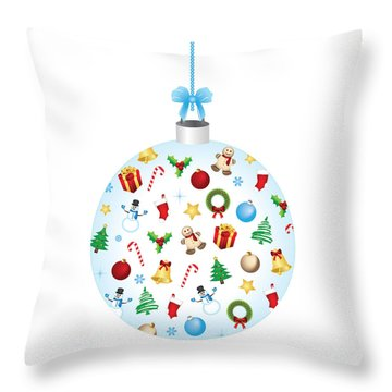 Christmas Bulb Art And Greeting Card Throw Pillow