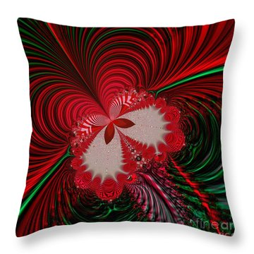 Christmas Butterfly Fractal 63 Throw Pillow by Rose Santuci-Sofranko