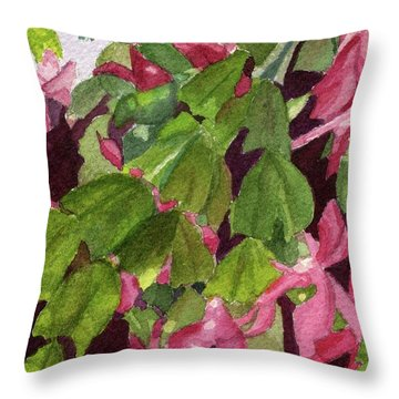 Throw Pillow featuring the painting Christmas Cactus by Lynne Reichhart