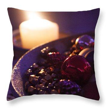 Christmas Candlelight Throw Pillow