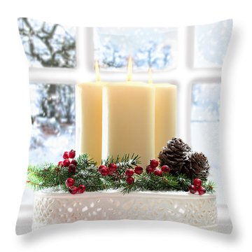 Christmas Candles Display Throw Pillow by Amanda Elwell