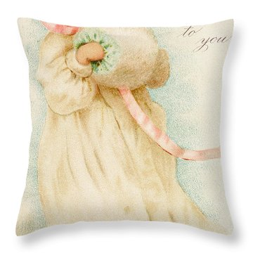 Christmas Card Depicting A Girl With A Muff Throw Pillow