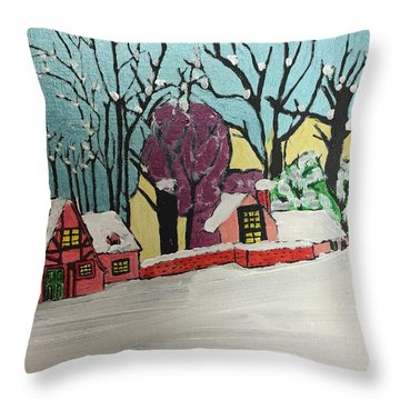 Throw Pillow featuring the painting Christmas Card by Paula Brown