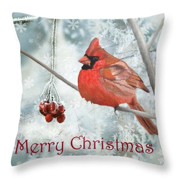 Throw Pillow featuring the painting Christmas Cardinal by Angeles M Pomata