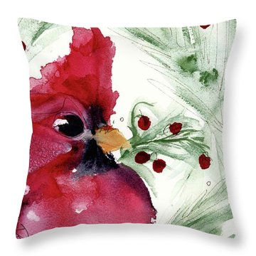 Throw Pillow featuring the painting Christmas Cardinal by Dawn Derman