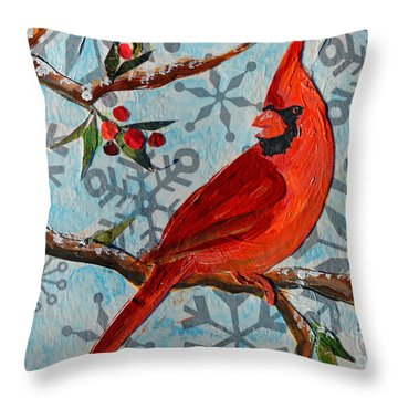 Throw Pillow featuring the mixed media Christmas Cardinal by Li Newton