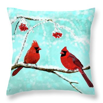 Throw Pillow featuring the painting Christmas Cardinals by Leslie Allen