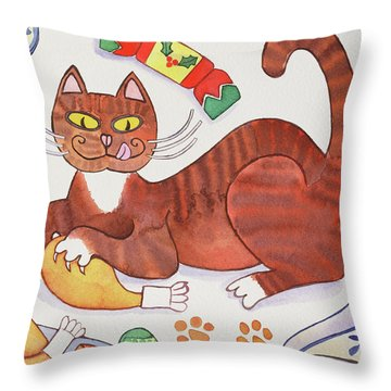 Christmas Cat And The Turkey Throw Pillow