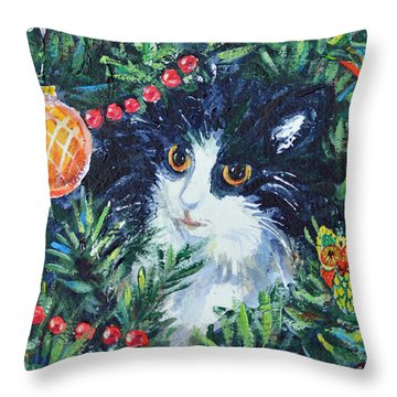 Throw Pillow featuring the painting Christmas Catouflage by Li Newton