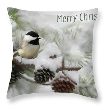 Throw Pillow featuring the photograph Christmas Chickadee by Lori Deiter