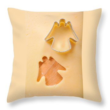 Christmas Cookie Angel Shape Throw Pillow by Matthias Hauser