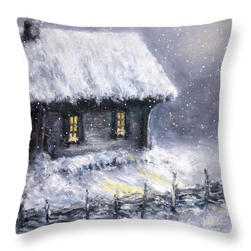 Throw Pillow featuring the painting Christmas Eve by Arturas Slapsys