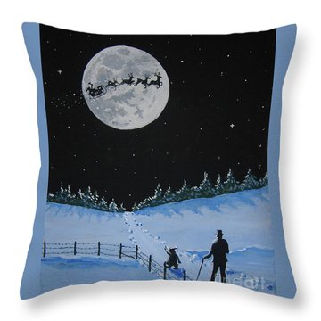 Christmas Eve Stroll Throw Pillow