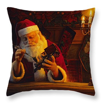 Throw Pillow featuring the painting Christmas Eve Touch Up by Greg Olsen