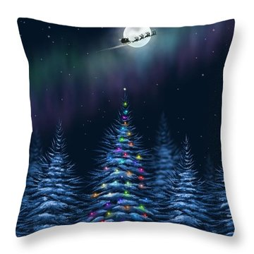 Throw Pillow featuring the painting Christmas Eve by Veronica Minozzi