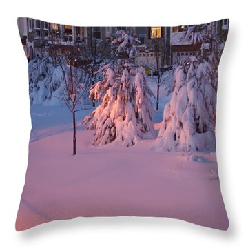 Christmas Evening Snow Throw Pillow