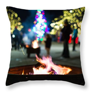 Christmas Fire Pit Throw Pillow