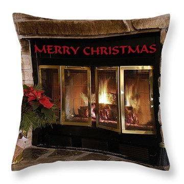 Christmas Fireplace Throw Pillow by Geraldine Alexander