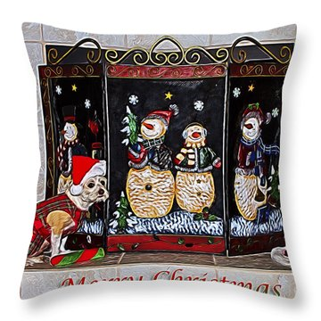 Christmas Fireplace Puppy Throw Pillow
