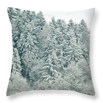 Throw Pillow featuring the photograph Christmas Forest - Winter In Switzerland by Susanne Van Hulst