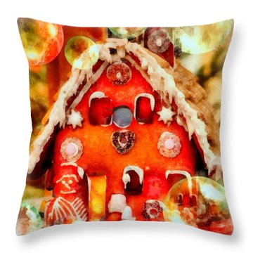 Christmas Gingerbread House Throw Pillow