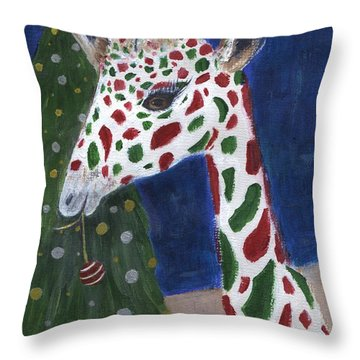 Throw Pillow featuring the painting Christmas Giraffe by Jamie Frier