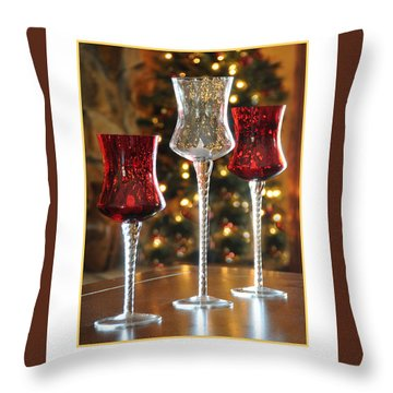 Christmas Glass Candle Holders Throw Pillow by Geraldine Alexander