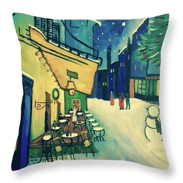 Christmas Homage To Vangogh Throw Pillow by Victoria Lakes