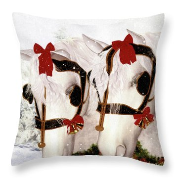 Throw Pillow featuring the painting  Snowflake And Holly by Valerie Anne Kelly