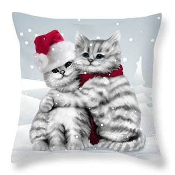 Christmas Hug Throw Pillow by Cindy Anderson
