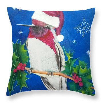 Christmas Hummer Throw Pillow