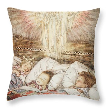 Christmas Illustrations From The Night Before Christmas Throw Pillow by Arthur Rackham