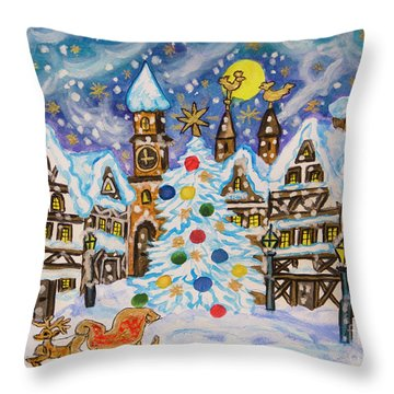 Christmas In Europe Throw Pillow