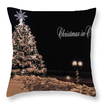 Throw Pillow featuring the photograph Christmas In Oswego by Everet Regal