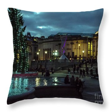 Christmas In Trafalgar Square, London 2 Throw Pillow