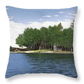 Throw Pillow featuring the painting Christmas Island Muskoka by Kenneth M Kirsch