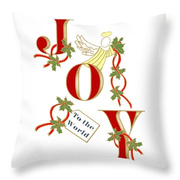 Throw Pillow featuring the mixed media Christmas Joy by Belinda Landtroop