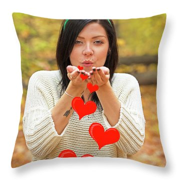 Throw Pillow featuring the photograph Christmas Kisses.. by Nina Stavlund