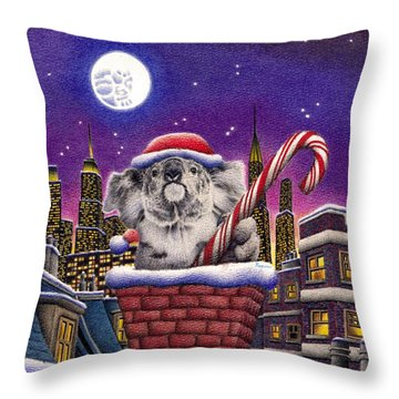 Christmas Koala In Chimney Throw Pillow