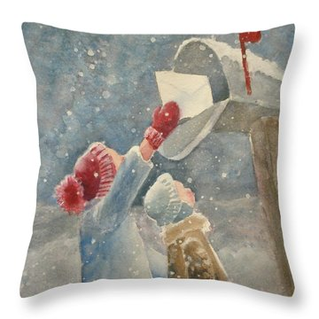 Christmas Letter Throw Pillow by Marilyn Jacobson