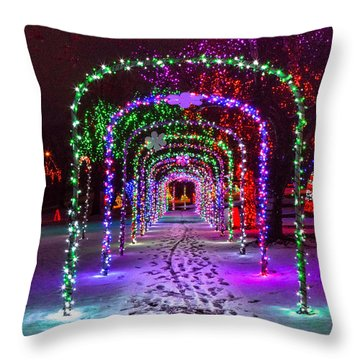 Christmas Light Arches Throw Pillow