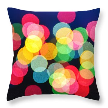 Christmas Lights Abstract Throw Pillow