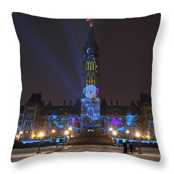 Throw Pillow featuring the photograph Christmas Lights Across Canada.. by Nina Stavlund