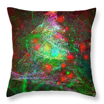 Throw Pillow featuring the digital art Christmas Lights And Tree by Russell Kightley