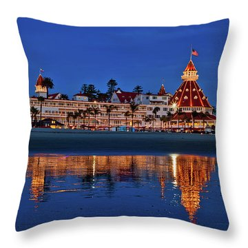 Throw Pillow featuring the photograph Christmas Lights At The Hotel Del Coronado by Sam Antonio Photography